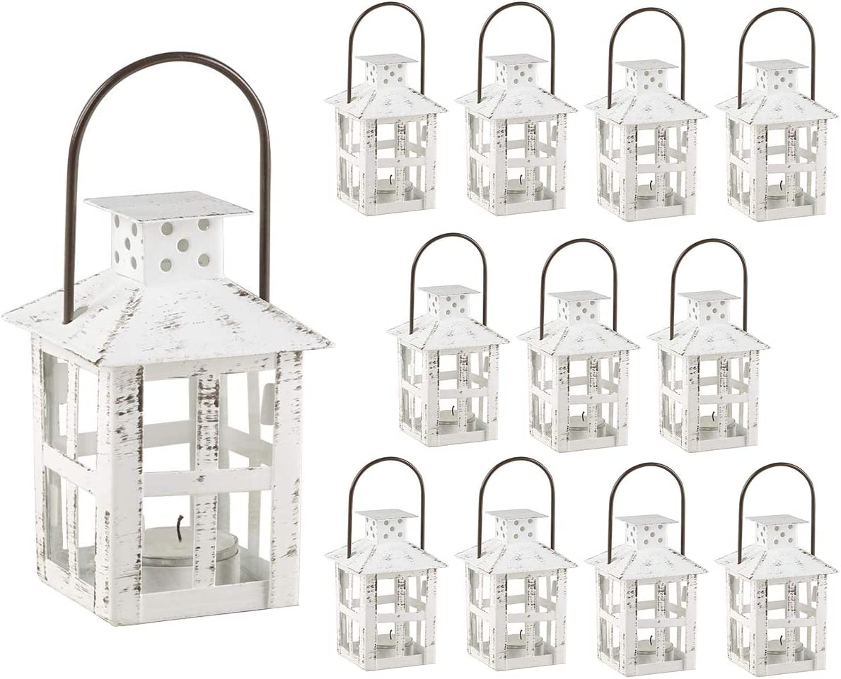Kate Aspen Decorative Lanterns - Set of 12 - Distressed Metal Vintage Mini Wedding Lantern, Centerpiece for Wedding Table, Accent Piece and Home Decor, Wedding Favors and Baby Shower Favors (White)