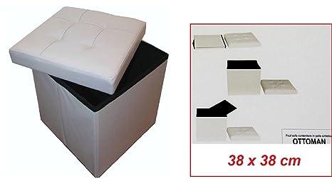 Pouf puff box contenitore sgabello scatola pieghevole ecopelle 38 x