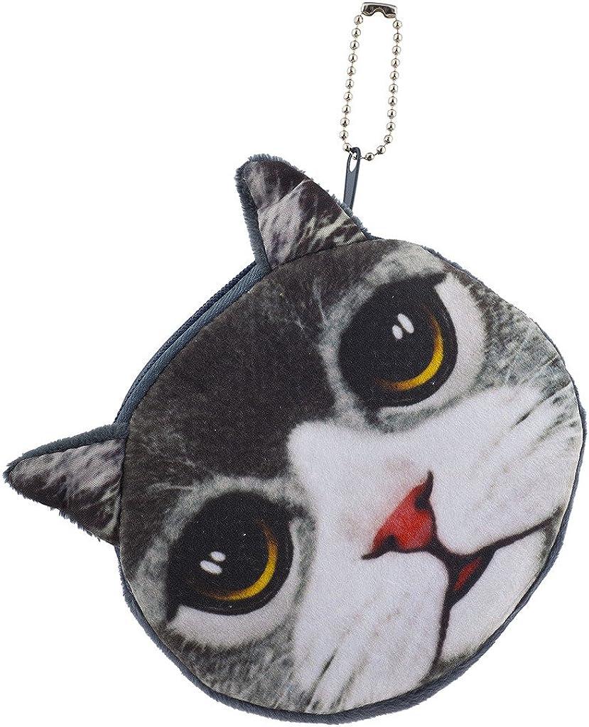 Lux Accessories Cat Face Kitten Cat Pet Animal Novelty Wallet Change Coin Purse