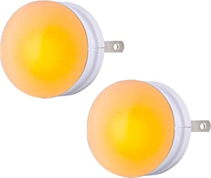 GE SleepLite LED Night Light, 2 Pack, Melatonin, Dusk-to-Dawn Sensor, Natural Sleep Aid, Warm Amber, Compact, Ideal for Bedroom, Nursery, Bathroom, Hallway, 45247, 2
