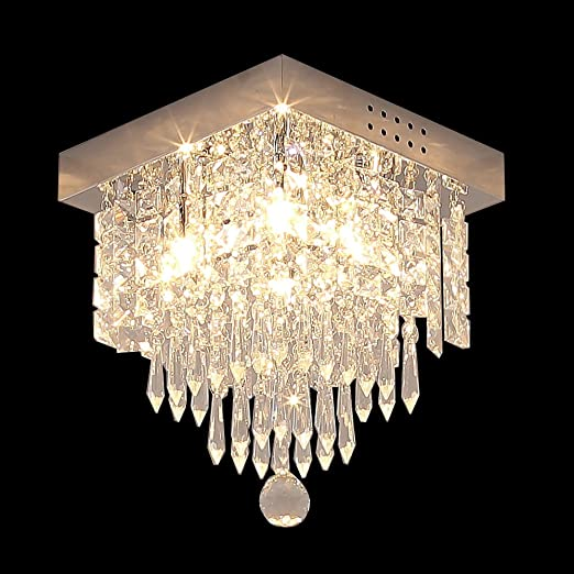 Glighone Lámpara Colgante Cristal 4 LEDs*25W Lámpara de Techo Luz Moderna Lámpara de Araña