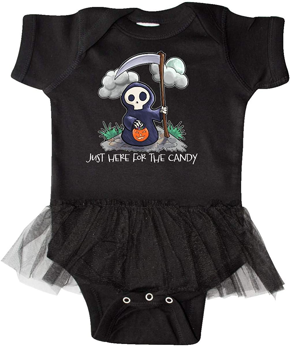 inktastic Just Here for The Candy with Cute Grim Reaper Infant Tutu Bodysuit