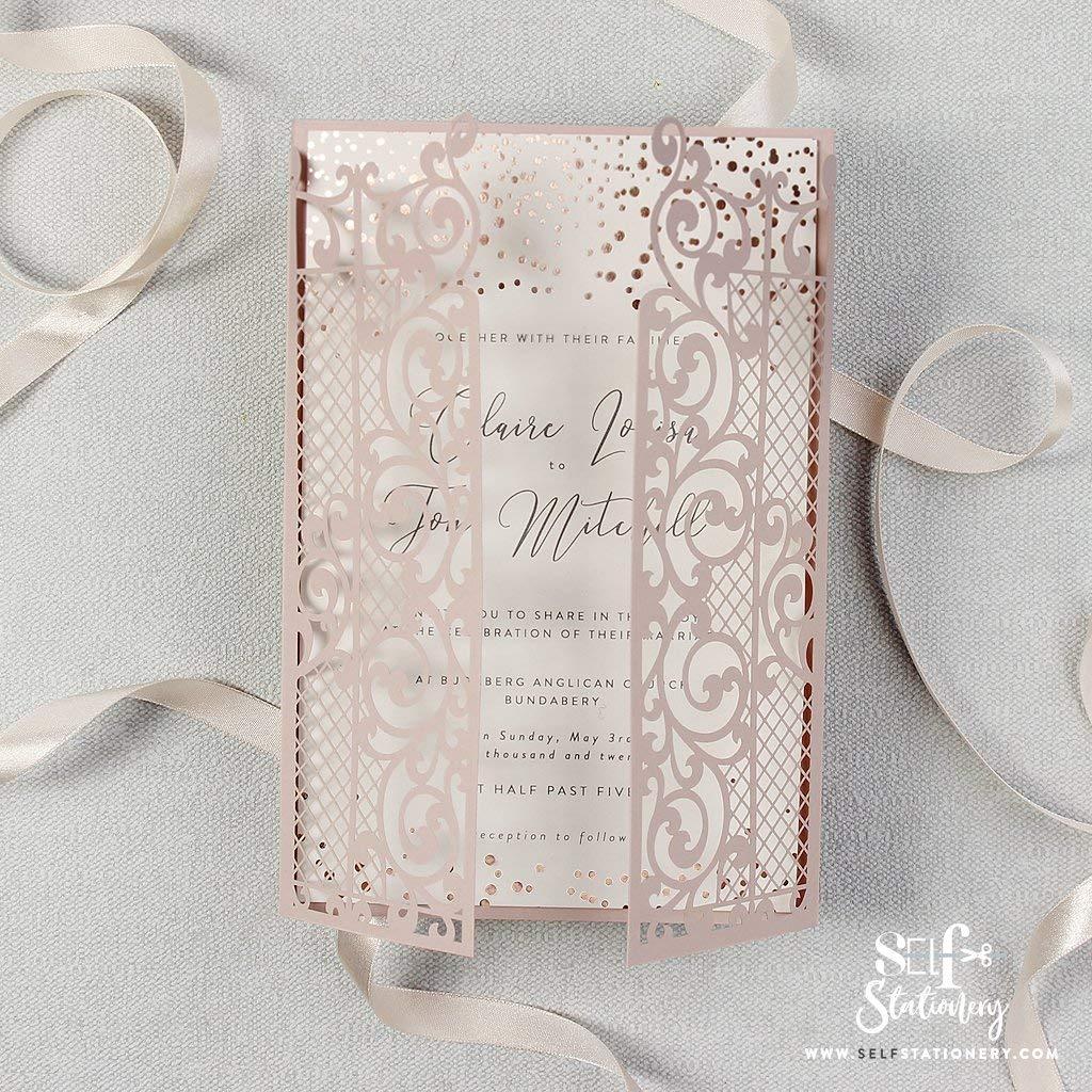 Ornamental Gate Misty Rose Laser Cut Rose Gold Foil Confetti