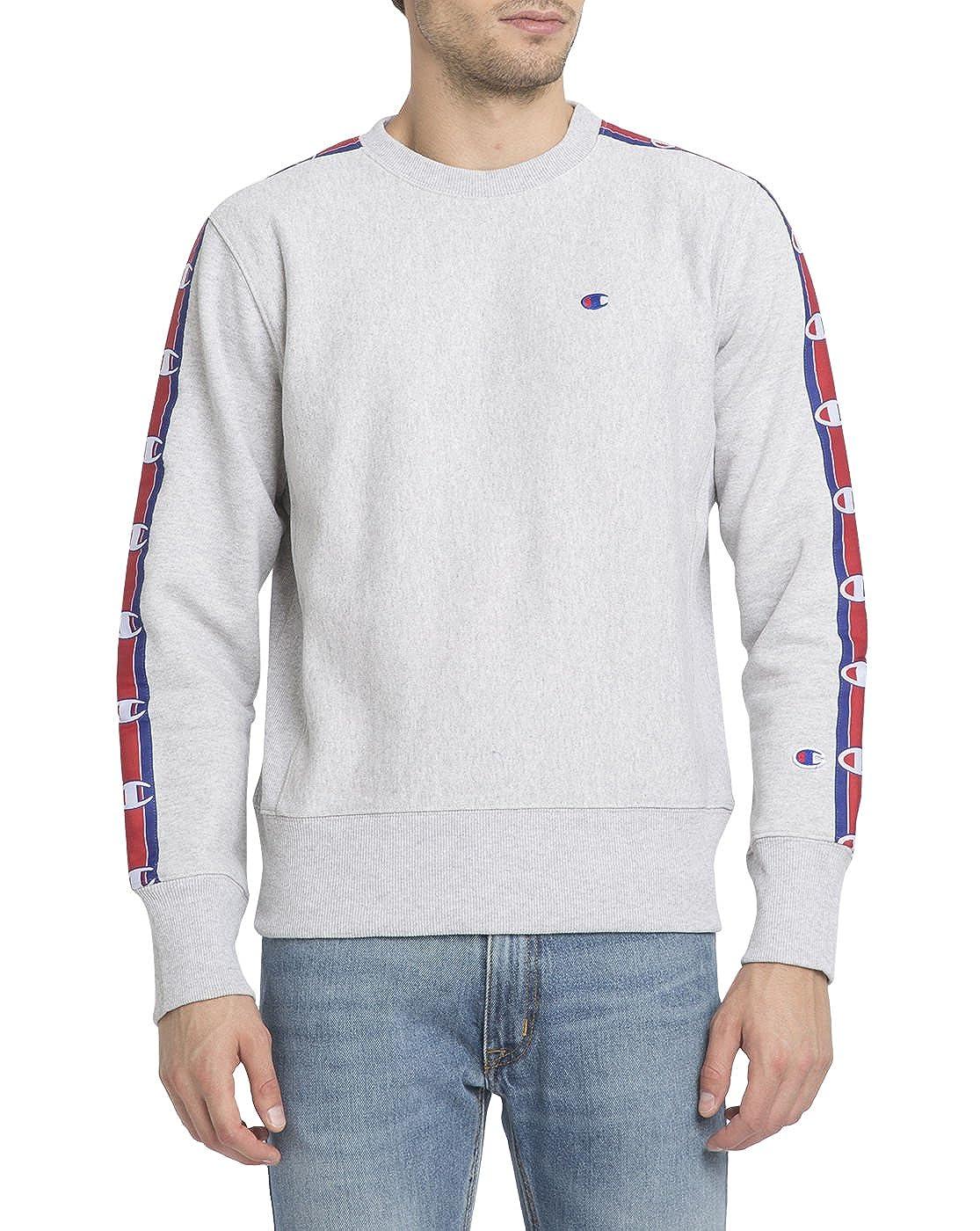 c0f22a8cb804 Champion - Crew-Neck Sweatshirts - Men - Mottled-Grey Stripes Logo  Sweatshirt for Men - S: Amazon.co.uk: Clothing