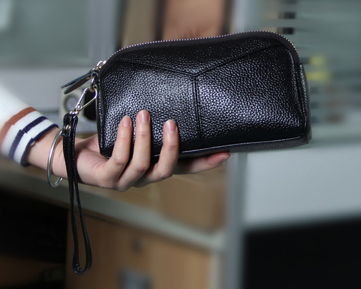 Black iSuperb Leather Clutch Bag Zipper Wallet Wristlet with Wrist Strap for Women Christmas Gift 7.3x4.3x2 inches