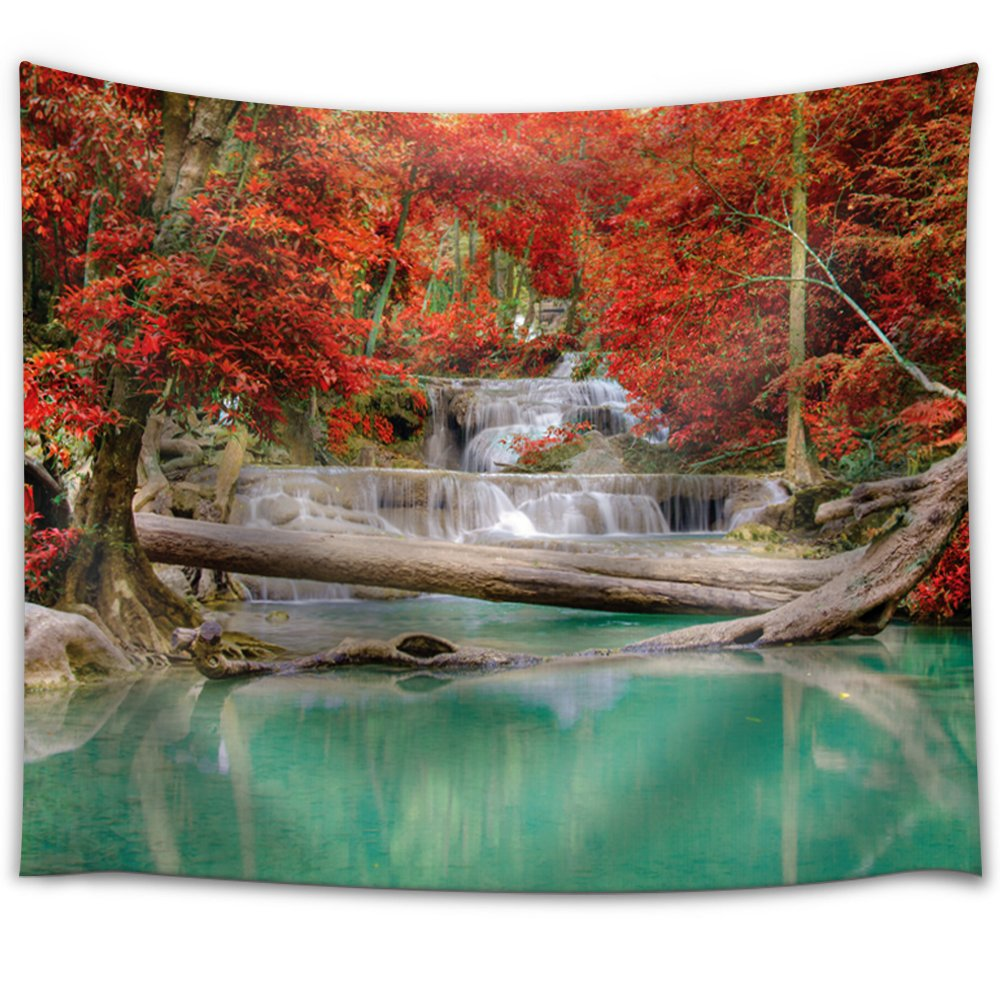 Forest Lake Fabric Home: Waterfall Leading To A Teal Lake In A Forest
