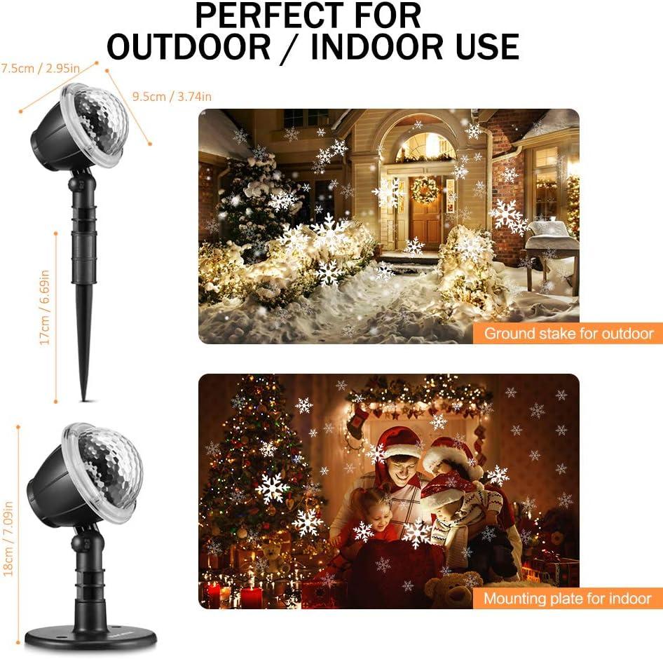 LED Projektionslampe mit Fernbedienung 9W NACATIN LED Weihnachtsbeleuchtung Au/ßen und Innen IP65 Weihnachtenlampe Stimmungslichter f/ür Weihnachten Party Hochzeit