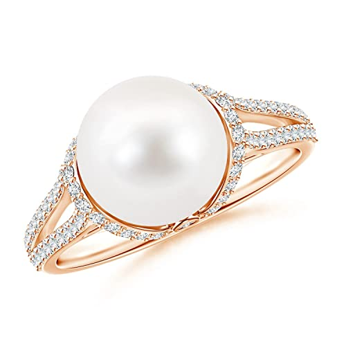 Angara Twin Shank FreshWater Cultured Pearl and Diamond Cradle Ring jEsylV1d