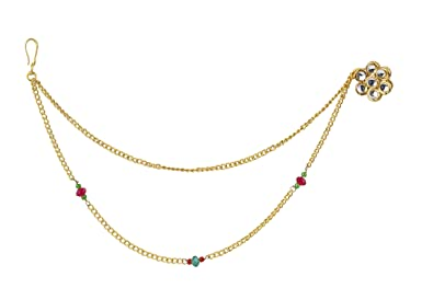 Buy Payal Jewellers Gold Plated Resin Red Nose Ring Nath With Long