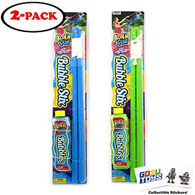 """19\"""" Long Giant Bubble Maker Wand Sticks 20\"""" Diameter Bubbles with Looping Cords for Tricks 12fl Bottle of Bubbles and 2 GosuToys Stickers: Toys & Games [5Bkhe1102254]"""