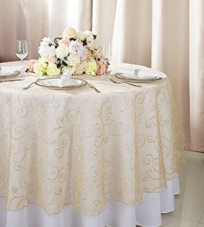 Wedding Linens Direct.Wedding Linens Inc 108 Round Embroidered Organza Sheer Table Overlays Toppers Organza