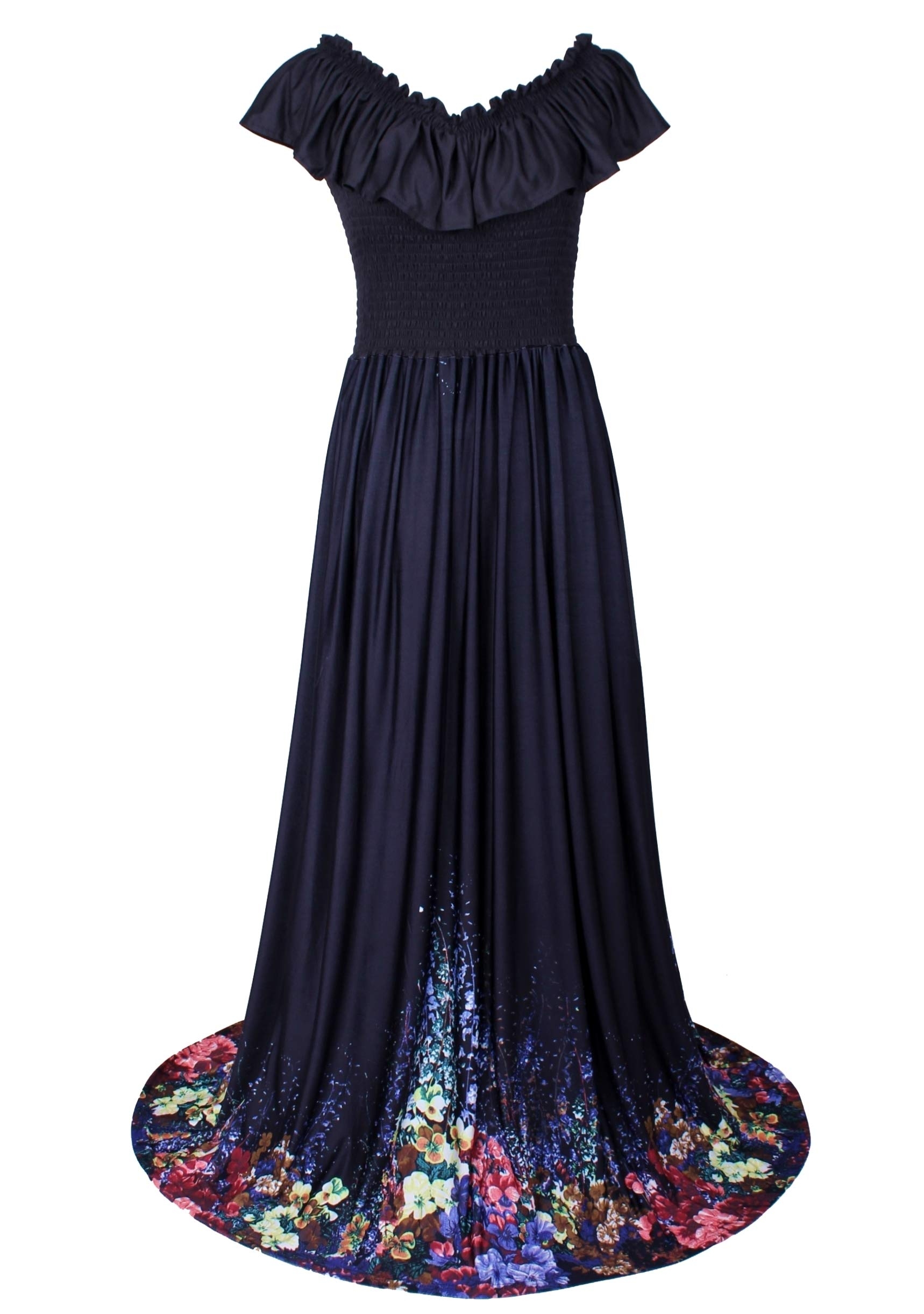d82267ea01a Maxi Dress for Women Plus Size Casual Short Sleeve Party Cocktail Long Gala  Gown (5X, Black/Floral)