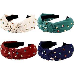 4 Pcs Rhinestone Headband for Women Girls Embellished Twist Knot Headbands Wide Hair Hoop Hair Band Hair Decoration