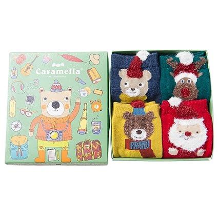 Calcetines de la Tripulación de Navidad, Funpa 4 par Calcetines de Piso Calcetines de Respiración