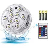 Submersible led Lights,RGB Waterproof Mood Lights with Remote Control for Hot Tub Vase Base Pond Swimming Pool Aquarium…
