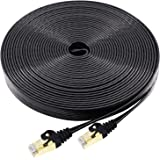 Cat7 Ethernet Cable 10 FT 2-Pack Black, BUSOHE Cat-7 Flat RJ45 Computer Internet LAN Network Ethernet Patch Cable Cord - 10 Feet