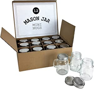 Mini Mason Jar 4 Ounce Mugs - Set of 12 Glasses With Handles And Leak-Proof Lids - Great For Gifts, Drinks, Favors, Candles And Crafts