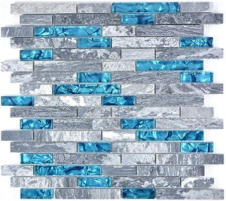 Lot De 10 Tapis De Mosaique En Verre Gris Et Bleu Pour Mur Salle De Bain Toilettes Douche Cuisine Miroir De Carrelage Amazon Fr Bricolage
