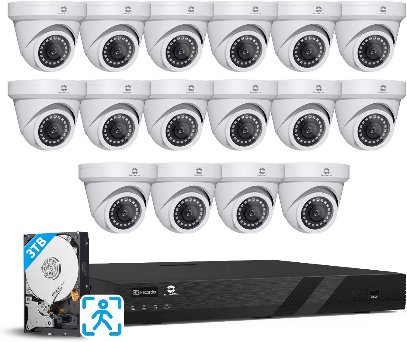GWSECU 16CH 4K PoE Camera Security System, 8MP H.265 Video Surveillance NVR Kits with 3TB HDD, 16x 5MP Wired 2.8mm Person Detection IP Dome Turret Camera for Home Business 24/7 Audio Recording