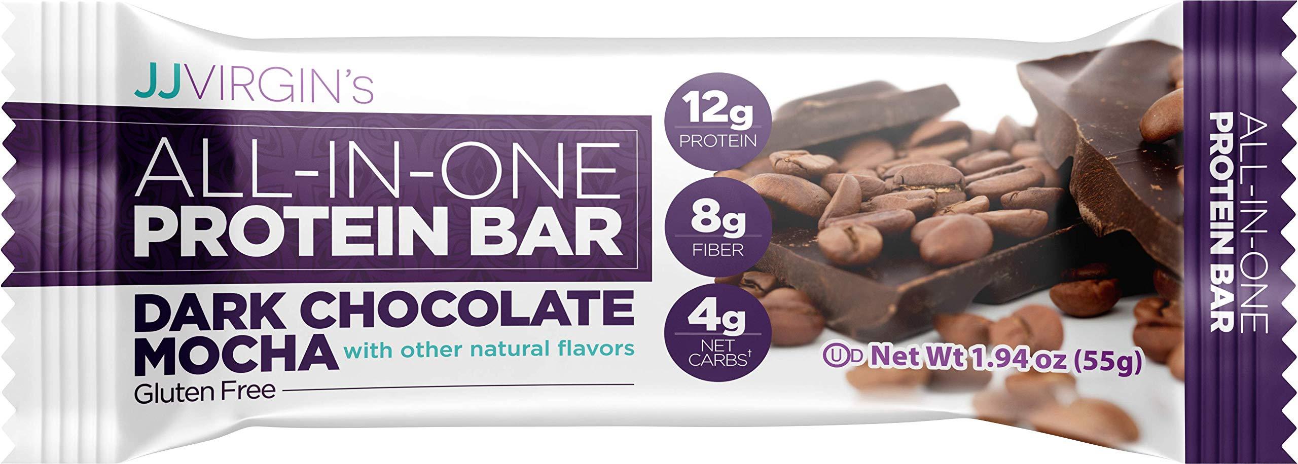 JJ Virgin All-in-One Protein Bar in Dark Chocolate Mocha - 12 Grams of Protein, 8 Grams of Fiber + MCT Oils (Box of 12) by JJ VIRGIN