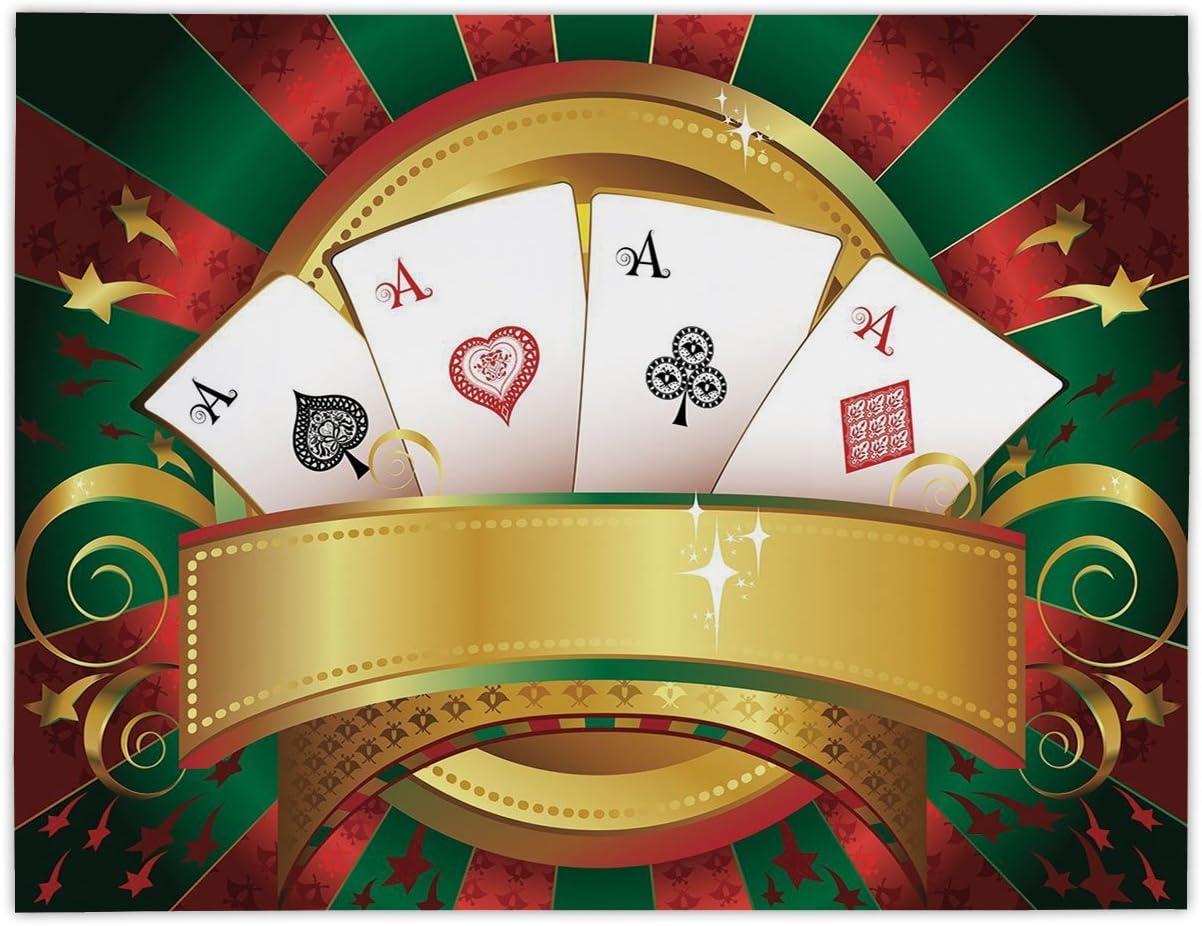 iprint Mantel de satén Rectangular, diseño de póquer, para Jugar a la Fortuna y Jugar a Juegos, con diseño de Ruleta de Casino de Mano, Decorativo, Multicolor, para Comedor, Cocina, Mesa: Amazon.es: