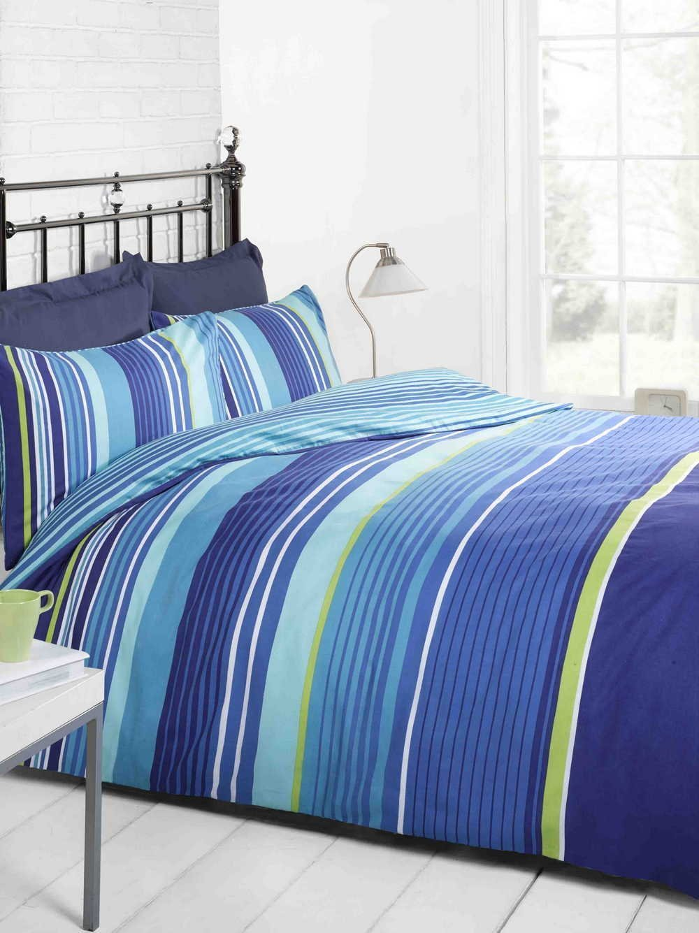 Bright blue bedding - Signature Striped Quilt Duvet Cover And Pillowcase Bedding Bed Set Navy Light Blue Green White Single Amazon Co Uk Kitchen Home