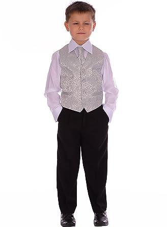 Los muchachos de plata Traje DE Swirl boda formal de Bautizo 4 Piezas de 6-9 meses a 8-9 años