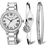 MAMONA Ensemble cadeau montre pour femme et bracelet en céramique acier inoxydable assorti de cristaux