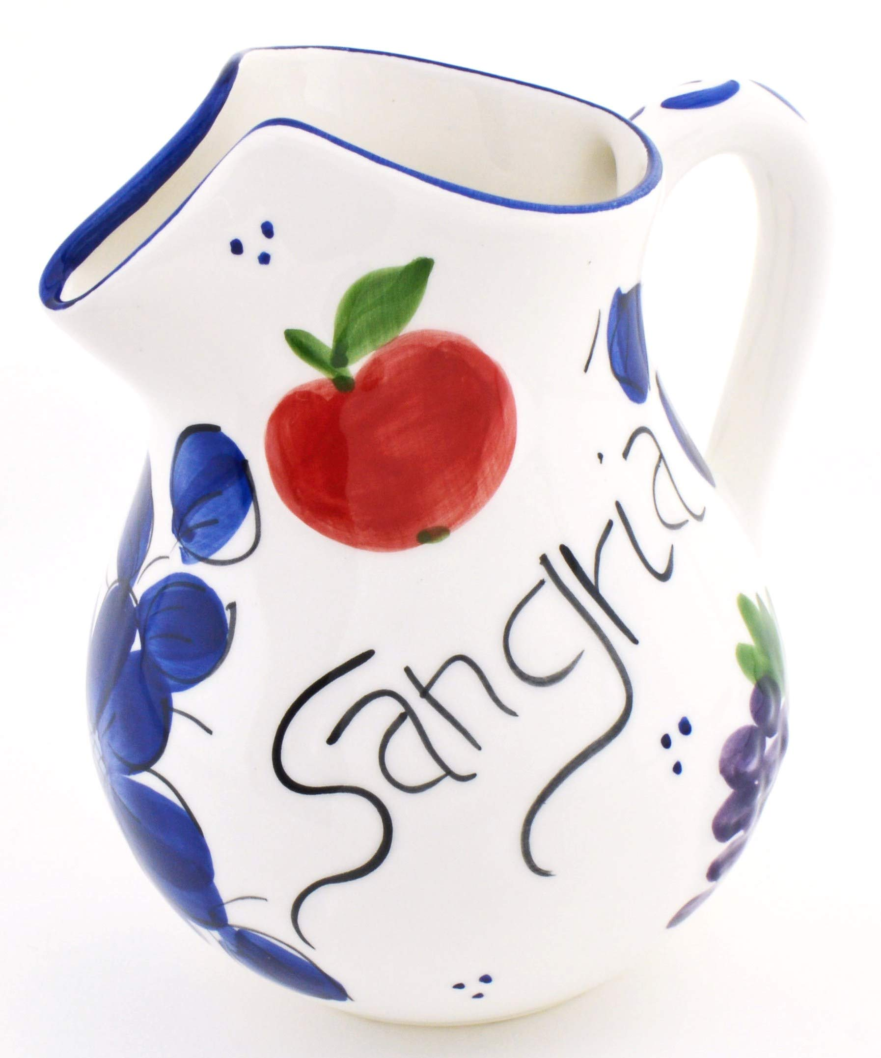 ART ESCUDELLERS Ceramic JUG Sangria Handmade and Handpainted in Classic Blue Decoration. 7,87'' x 6,30'' x 9,06''