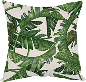 Moslion Palm Leaves Pillow,Home Decor Throw Pillow Cover Tropical Dense Jungle Palm Leaves Cotton Linen Cushion for Couch/Sofa/Bedroom/Livingroom/Kitchen/Car 18 x 18 inch Square Pillow case