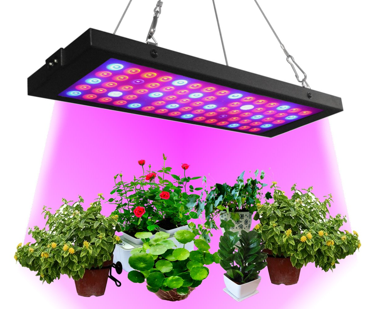 Grow Light 40W, Panel Full Spectrum UV+IR+White+Red+Blue 75LEDs , RINBO Led Grow Light with Daisy Chain for Greenhouse and Indoor Plants, No Noise, Thin, Aluminum with Good Heat Dissipation, for House/Gardening/Hydroponic/Aquatic ,Vegetable,Flower,Seedlin