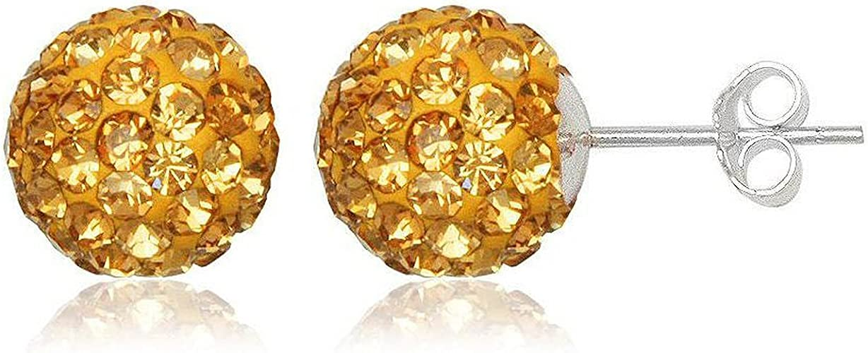 14k Yellow Gold Womens 8mm Royal Blue Austrian Crystal Disco Ball Studs Earrings