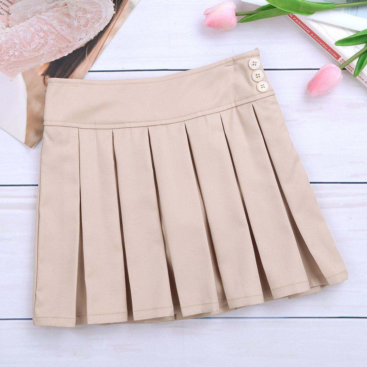 dPois Kids Girl Skort School Uniform High Waist Box Pleated Skater Tennis Skirt Side Zipper Scooter with Hidden Shorts