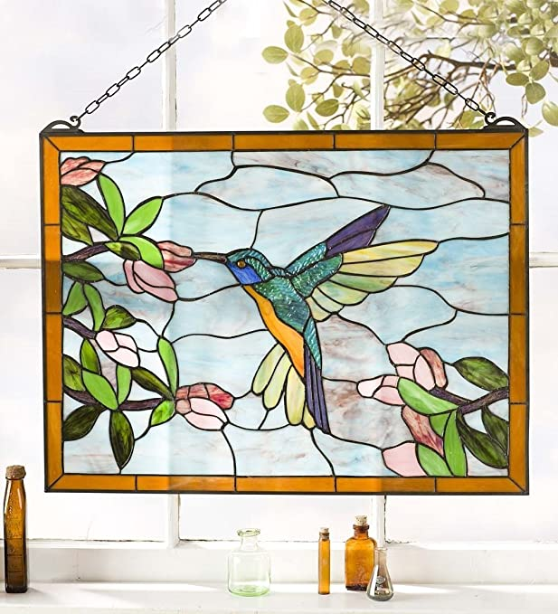 Hummingbird Stained Glass Window Panel, Vivid Colors, Opalescent Glass, Indoor and Outdoor Use