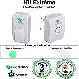 EcoDring ✮ Sonnette Ecologique Sans fil Sans pile EXTREME ✮ garantie 3 ans, 120m, résistant à l'eau + stickers pour nom + phosphorescents, blanche, 25 mélodies, 1 bouton + 1 carillon