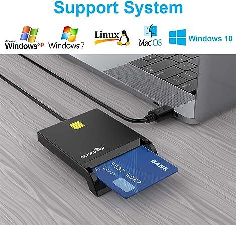 DOD Lector De Tarjetas Inteligentes Con Chip USB-CAC Militar,Con Adaptador De Acceso Público/Tarjeta De Identificación/Tarjeta SIM/Tarjeta Chip Banco ...