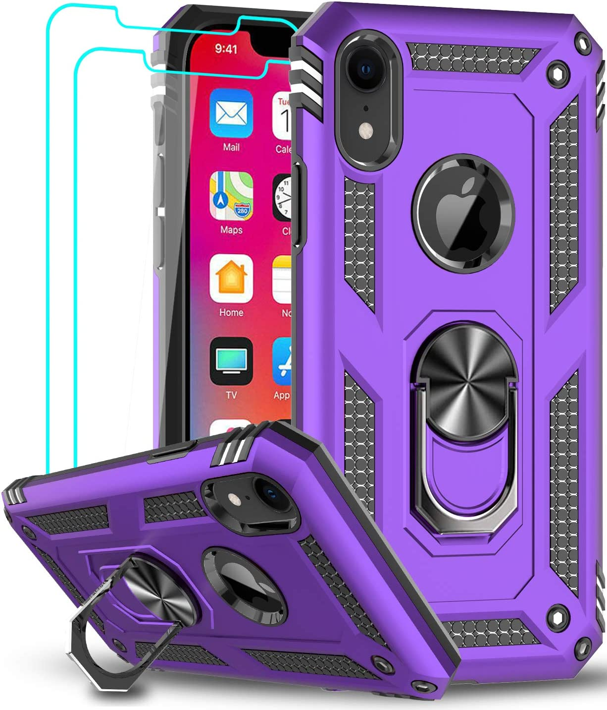 iPhone XR Case with Tempered Glass Screen Protector [2 Pack] for Women Men Teens, LeYi [Military Grade] Defender Protective Phone Case with Magnetic Ring Kickstand for Apple iPhone XR 10 10 XR, Purple
