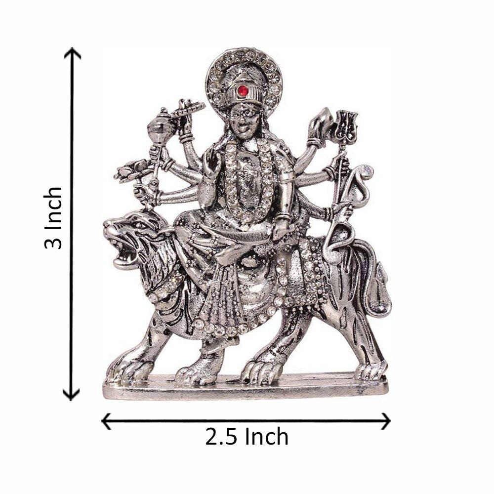 Buy fabzone silver plated with stone goddess durga devi car dashboard idol sherawali mata rani god statue spiritual puja vastu showpiece figurine online at