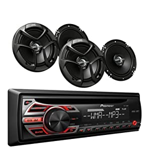 Pioneer DEH-150MP Car Audio CD MP3 Stereo Radio Player, Front Aux Input withJVC 6.5 Inch 2-WAY Car Audio Speaker (Black)