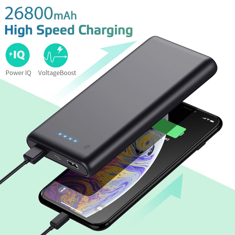 Ekrist Batería Externa 26800mAh Bateria Portatil para movil Powerbank Carga Rápida Cargador Portátil 2 Salidas USB 2.1A y 1A Batería Externa para ...