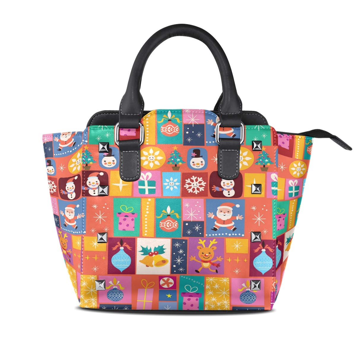 Design5 Handbag Cute Orangutan Genuine Leather Tote Rivet Bag Shoulder Strap Top Handle Women