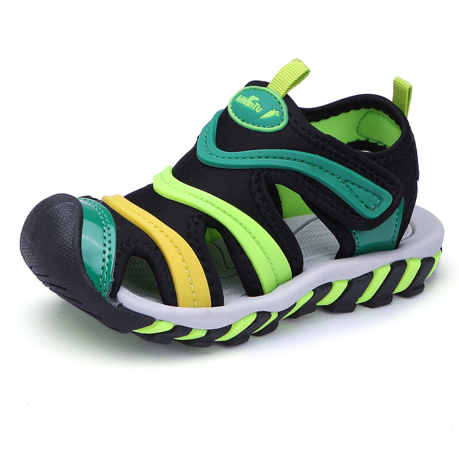 BTDREAM Boy's and Girl's Sports Sandals Breathable Closed-Toe Summer Outdoor Velcro Athletic Beach Shoes Green Size 33