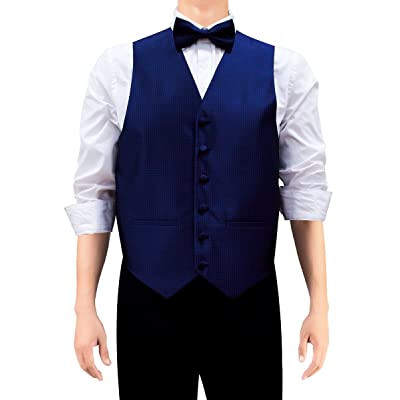 Retreez Men's Modern Mini Polka Dots Woven Suit Vest, Dress Vest Set with Tie, Pre-Tied Bow Tie, Pocket Square, Gift Box Set as a Birthday, Christmas Gift - Navy Blue with Red Dots, Extra Large at Amazon Men's Clothing store