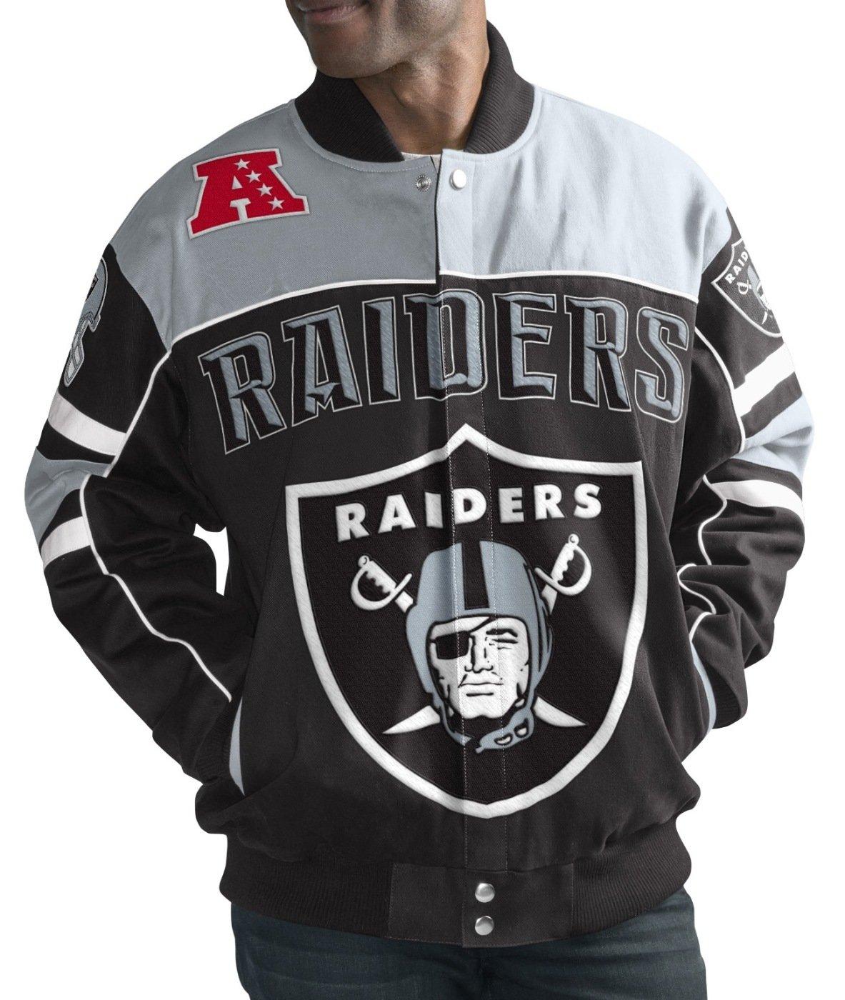 Oakland RaidersメンズNFL g-iii「Blitz」プレミアムコットンツイルジャケット Medium  B073SCF8KF