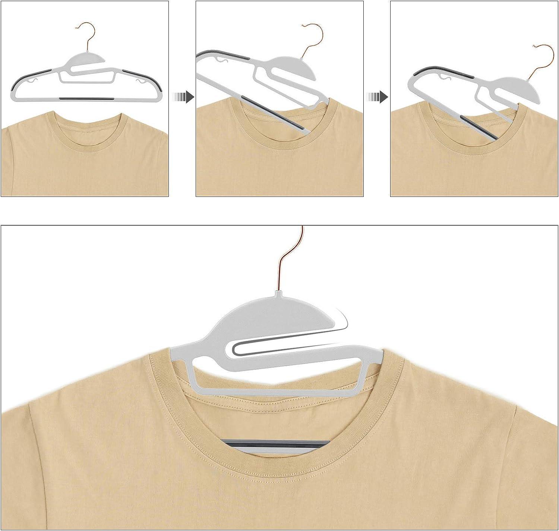 Anzugb/ügel aus Kunststoff hochwertig Anti-Rutsch 0,5 cm dick Haken in Ros/égold um 360/° drehbar hellblau CRP43IN30 platzsparend S-Form-/Öffnung 41,5 cm breit SONGMICS Kleiderb/ügel 30er Set