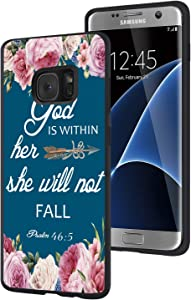 Galaxy S7 Edge Case,Christian Bible Verses Psalm 46:5 with Pink Flower Slim Anti-Scratch Shockproof Leather Grain Soft TPU Back Protective Cover Case for Samsung Galaxy S7 Edge (2016)