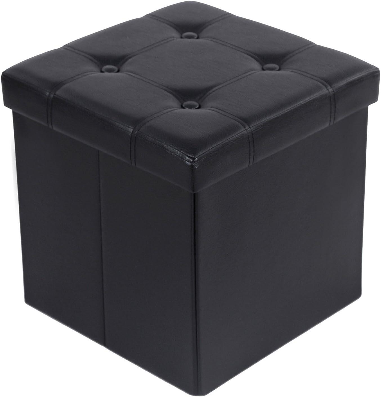 SONGMICS 38 x 38 x 38 cm Baúl Puff Taburete para almacenaje Plegable Carga máxima de 300 kg Negro LSF30B