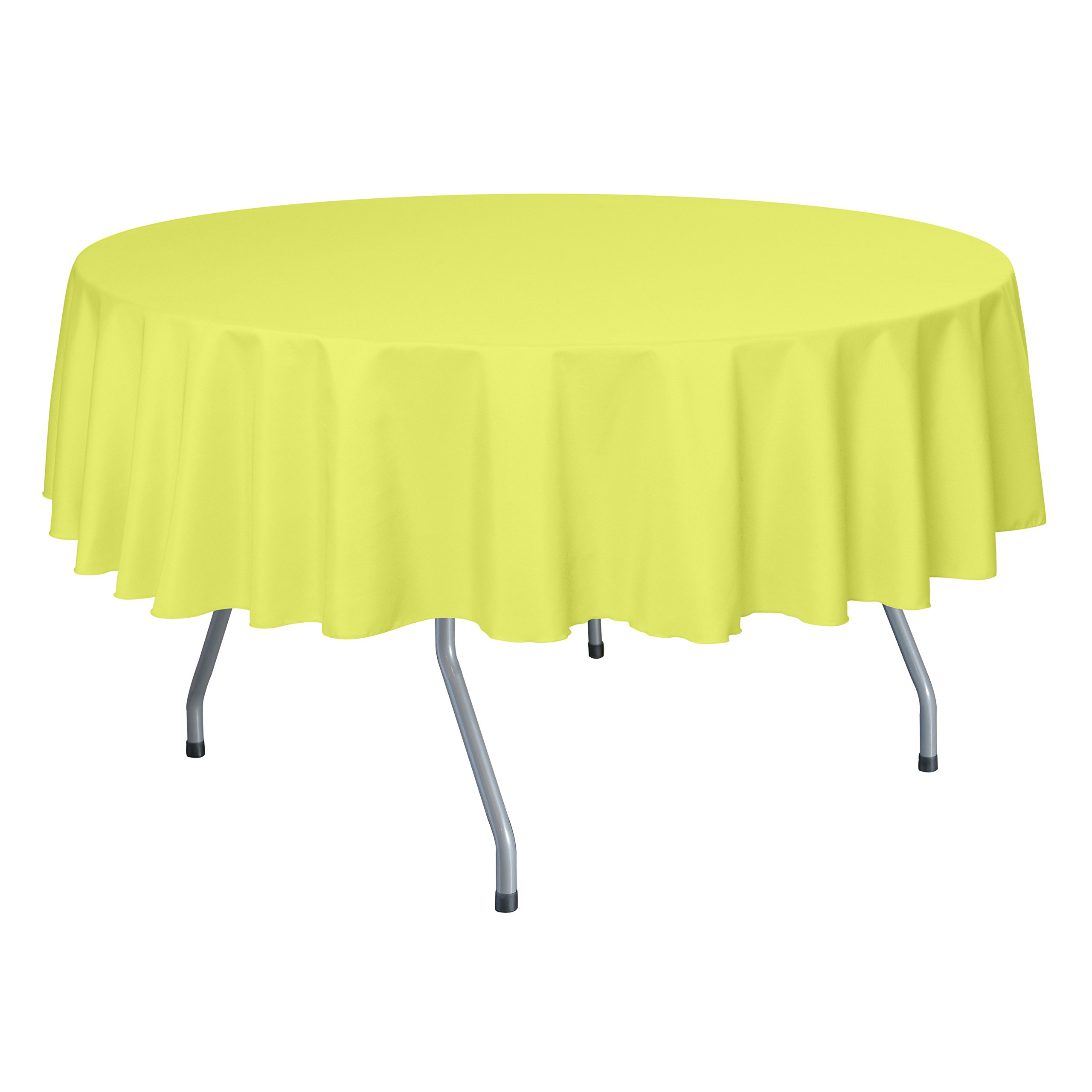 Ultimate Textile (55 Pack) 70-Inch Round Polyester Linen Tablecloth - for Wedding, Restaurant or Banquet use, Lemon Yellow