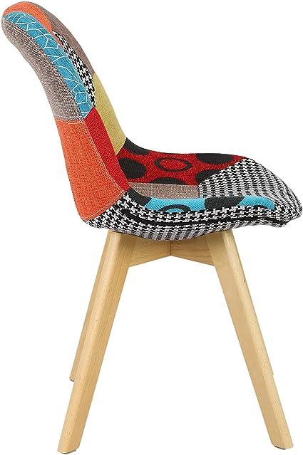 Bois,Multicolore BH29mf-1 WOLTU 1 X Chaise Salle /à Manger Chaise de Cuisine en Lin