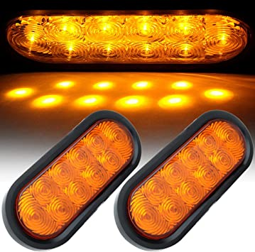 "6/"" Oval Truck Trailer Clearance Side Marker Turn Tail light 25 Amber LED//Lens"
